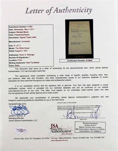 Mock Resignation Letter by Lot Detail Richard Nixon Signed Mock Presidential Resignation Letter To Henry Kissinger Jsa