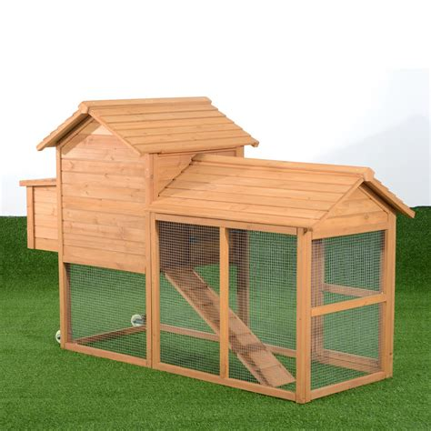 aosom deluxe portable backyard chicken coop with nesting