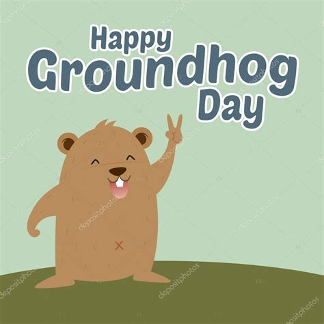 groundhog day vs happy day groundhog saying happy groundhog day stock vector