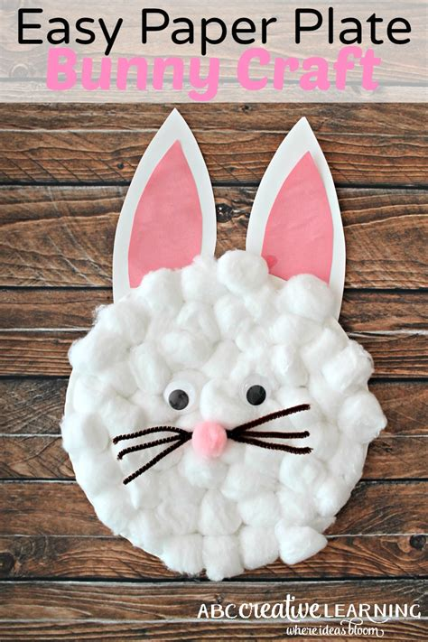 Simple Crafts With Paper Plates - easy paper plate bunny craft for
