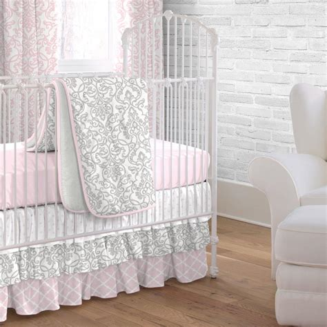 Pink And Gray Filigree 3 Piece Crib Bedding Set Carousel Pink And Grey Crib Bedding Sets
