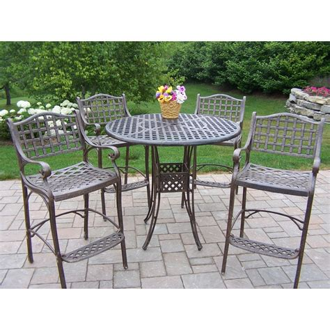 oakland living elite cast aluminum bar height patio dining