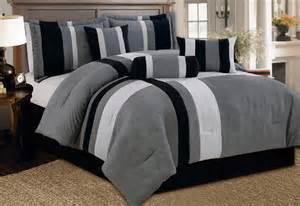 7 pc modern gray black comforter set micro suede queen