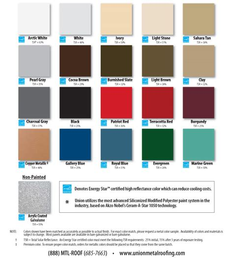 metal roof color chart metal roofing colors union corrugating