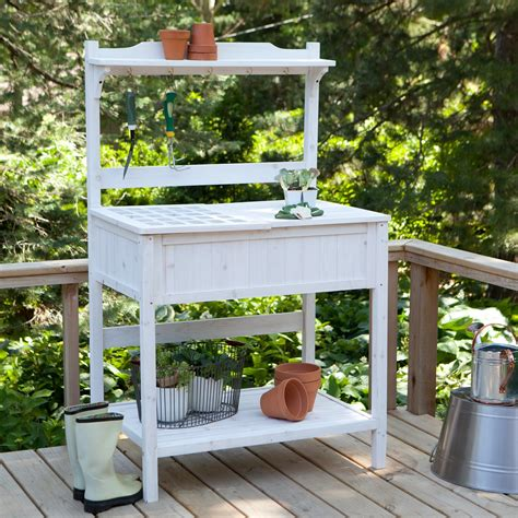white potting bench this white washed potting bench 170 is full of