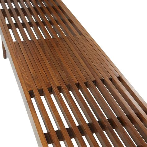 wood slat bench slatted wood bench in the style of george nelson for