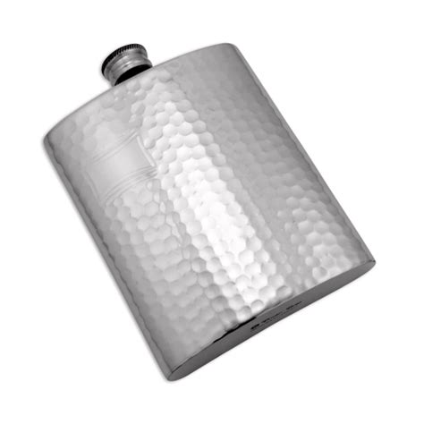 Handmade Pewter Flask - 6oz handmade hammered pewter hip flask with engraving