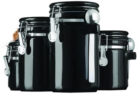 black ceramic canisters 4 piece set avanti storage kitchen anchor hocking 4 piece black ceramic canister set with