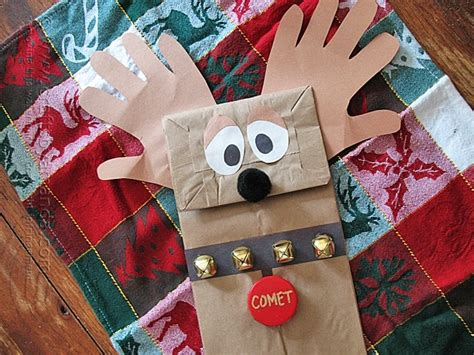 paper bag reindeer puppet crafts  amanda