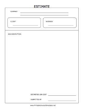 Estimate Form Template Printable Estimate Template