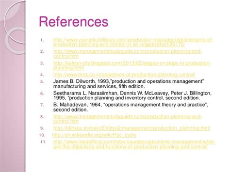 Mba In Operations Management Wiki by Production Planning And