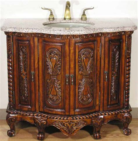 solid wood tuscan style bathroom vanity in walnut finish