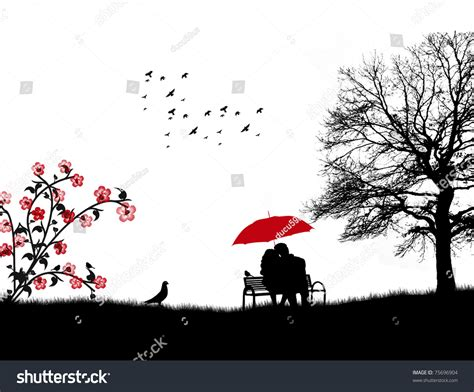 lovers on a park bench lovers in a park on the bench under red umbrella vector illustration 75696904