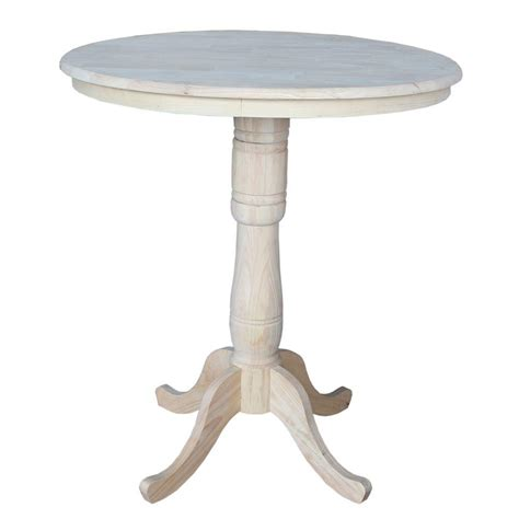 Unfinished Bar Table International Concepts Unfinished Pub Bar Table K 36rt 6b 2 The Home Depot