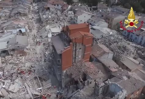 earthquake footage drone footage of the destroyed town of amatrice after the
