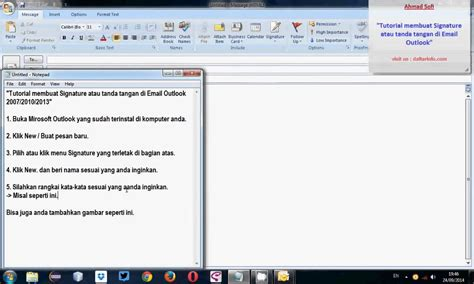 Microsoft Office 2007 Di Malaysia tutorial cara membuat signature tanda tangan di email ms outlook 2007 2010 2013 dengan gambar