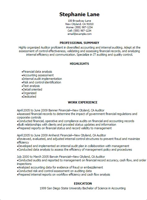internal auditor resume resume ideas