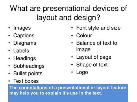 layout features in text question 2a presentaitonal features
