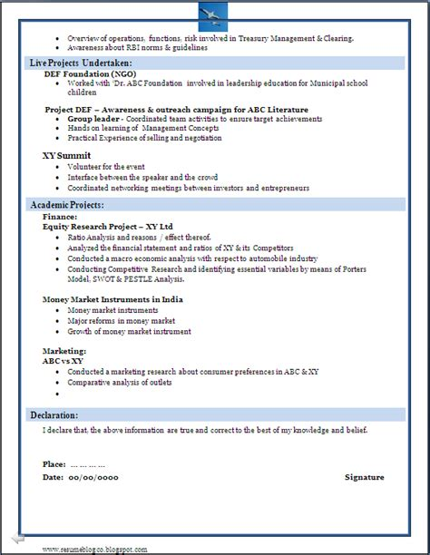 international resume format for freshers sle of a beautiful resume format of mba fresher