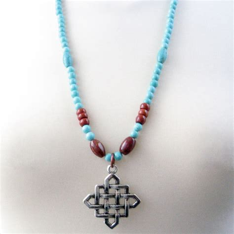 Handmade Turquoise Necklace - handmade necklace turquoise magnesite celtic knot pendant
