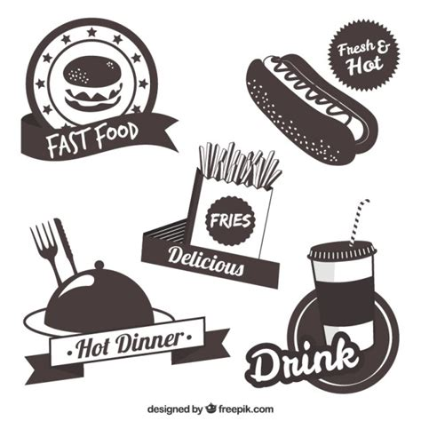 Fast food label collection Vector   Free Download