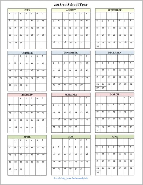 academic calendars school year printable