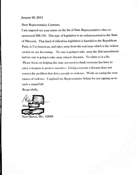 Reservation Amendment Letter my defense of the constitution against an anti 2nd