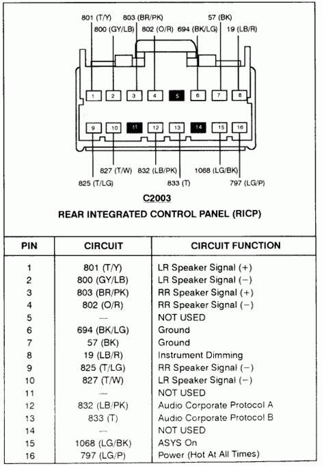 2001 ford explorer sport radio wiring diagram wiring