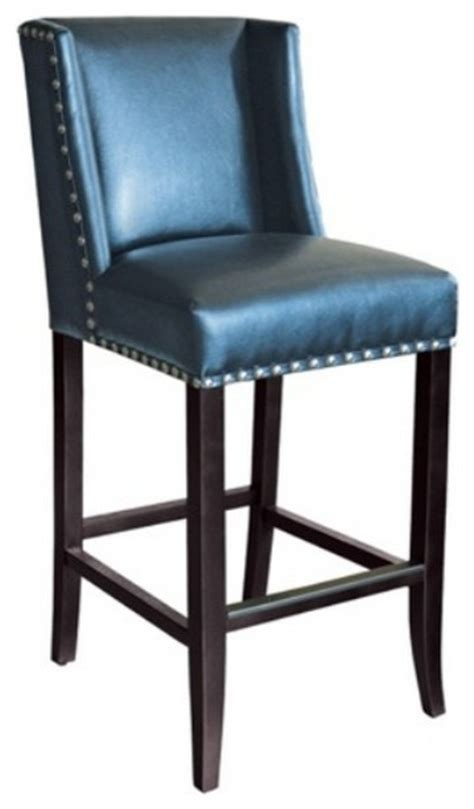 Blue Leather Bar Stools wing back bar stool in blue leather with silver nail counter height transitional bar