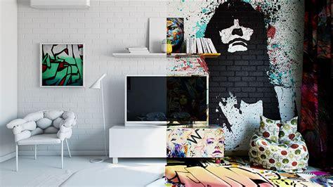 artist designed interiors art hotel bedroom designs half graffiti half white ukrainian artist perfectly