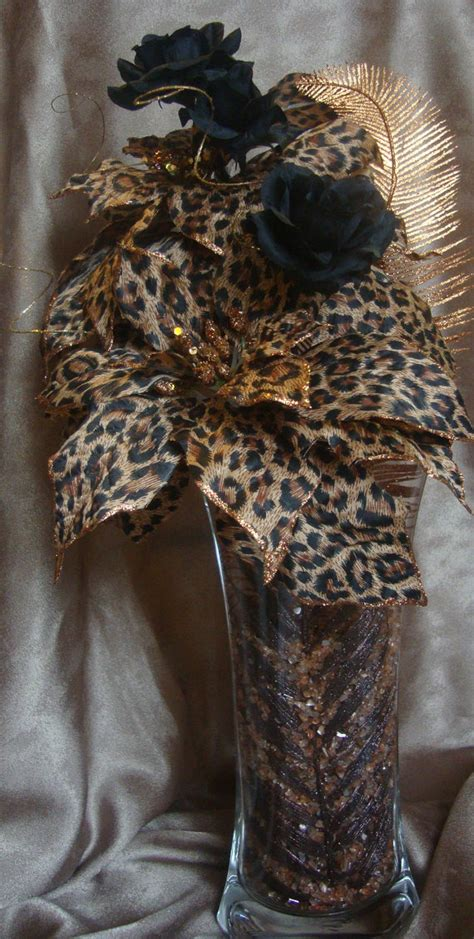 Leopard Print Vase by Leopard Print Flower Arrangement With Black Roses Vase Is