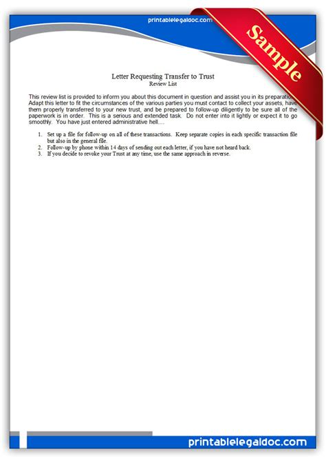 Request Letter For Transfer Of Real Estate Unit Free Printable Letter Requesting Transfer To Trust Form Generic