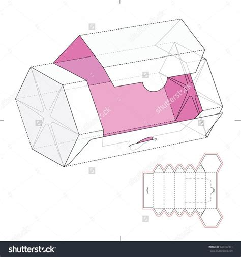 paper box template for hexagonal dispenser box with die cut template stock vector