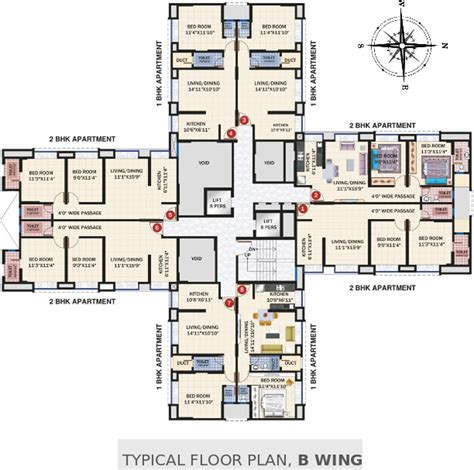 east wing floor plan 2090 sq ft 3 bhk 4t apartment for sale in mantri serene