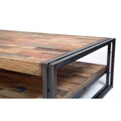 grande table basse rectangulaire fer et bois de bateau