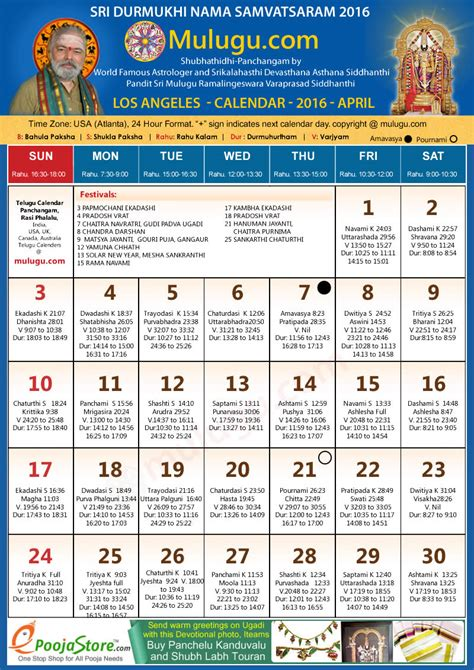 los angeles telugu calendar april mulugu telugu