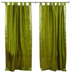 Olive Green Curtains Pair Of Olive Green Tab Top Sheer Sari Curtains 60 X 108 In Eclectic Curtains By Indian