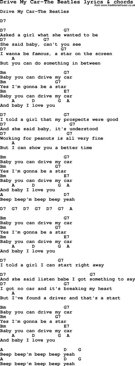 drive by chord love song lyrics for drive my car the beatles with chords