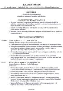 resume objective for investment banking
