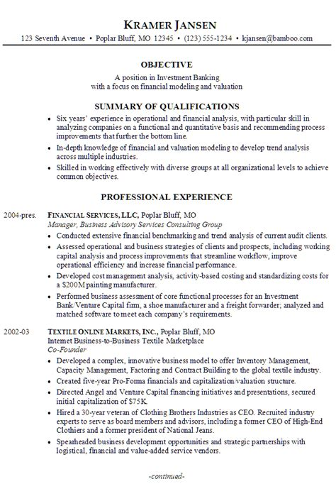 Bank Resume Sle by Sle Resume For Investment Banking Analyst 28 Images Investment Bank Resume Sales Banking
