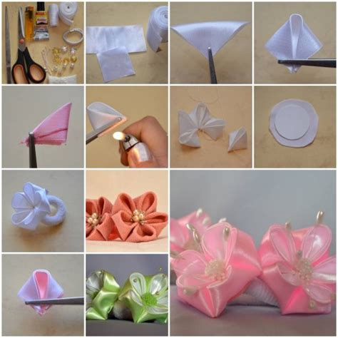 How To Make Flowers Out Of Paper Ribbon - how to make petals ribbon flower diy tutorial