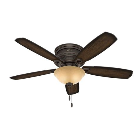 52 ceiling fan with light hunter ambrose 52 in indoor onyx bengal bronze low