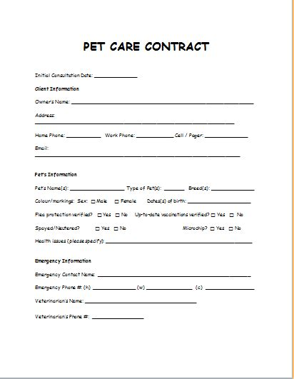 Pet Care Contract Sle Template Document Templates Pet Contract Template
