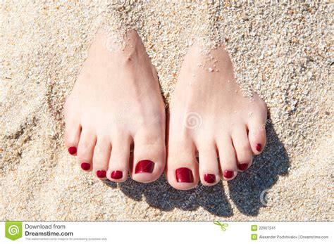 3 Feet Plan Womans Feet In Sand Stock Image Image 22907241