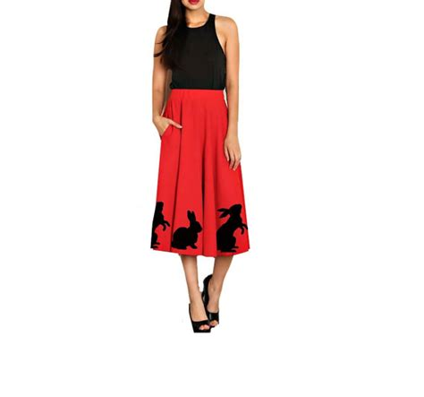 plus size swing skirt womens swing skirt animal print red fit and flare plus size
