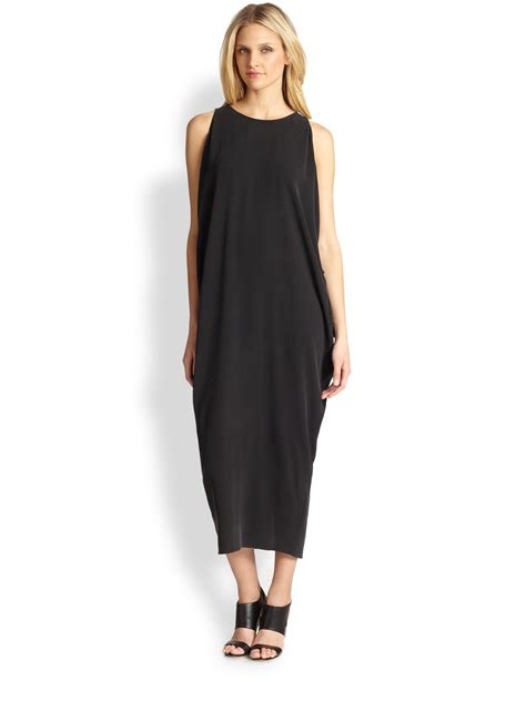 Silk Dress Black 1 eileen fisher silk draped dress in black lyst