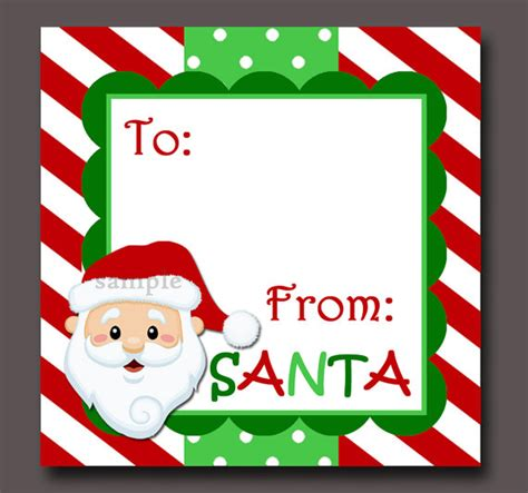santa gift tags printable instant download