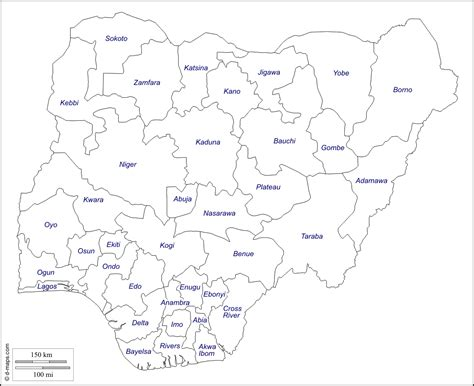 map of nigeria with states nigeria free map free blank map free outline map free