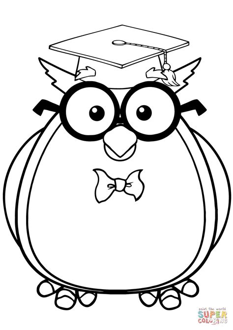 printable owl holding a card from template large 94 click the graduation cap and diploma coloring pages