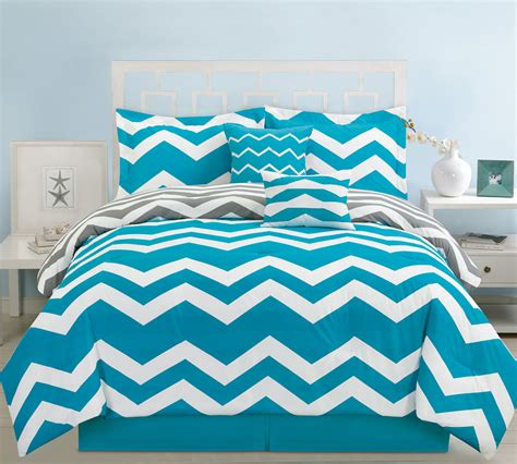 6 piece queen chevron teal comforter set